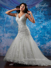 Karelina Sposa Exclusive by Mary's Bridal Wedding Dress C8082 Ivory Size 12 on Sale