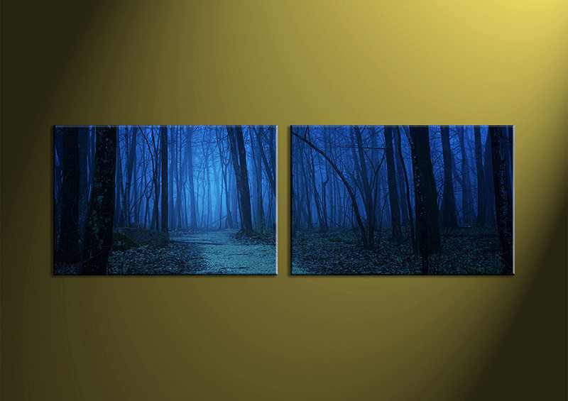 Forest Wall Art 2 piece blue night forest canvas print