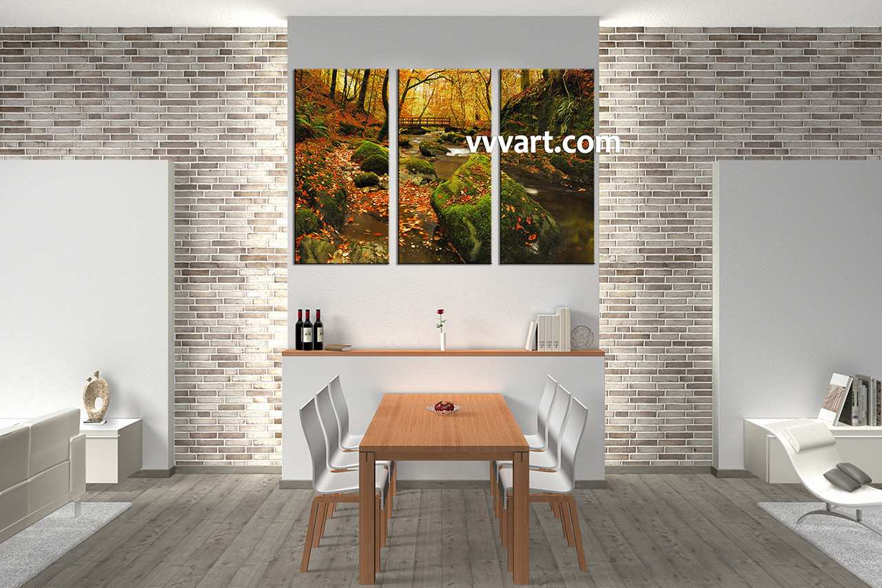 3 Piece Green Canvas Nature Wall Art Scenery Dining Room Decor Forest