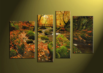Natural Wall Art 4 piece large pictures, scenery large canvas, green canvas art