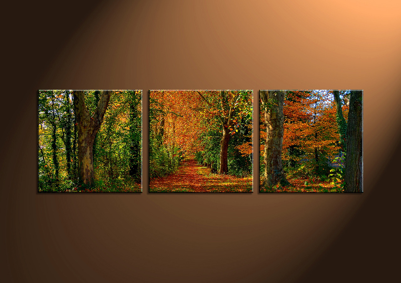 3 piece green canvas forest landscape art for 3 by 3 prints