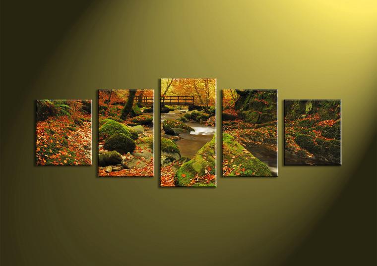 5 piece canvas forest multi panel art