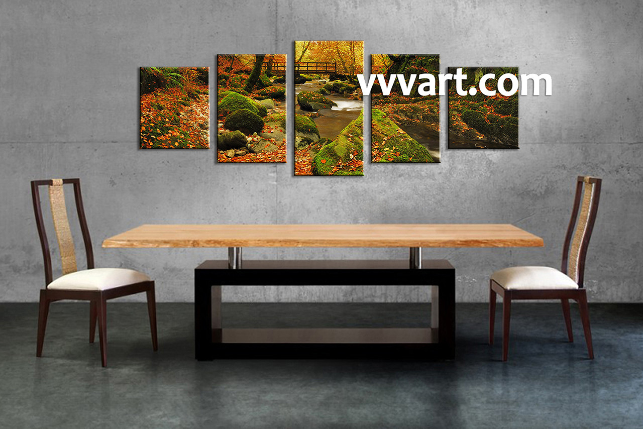 Scenery Art, 5 Piece Canvas Wall Art, Dining Room Wall Art, Forest Wall Part 50