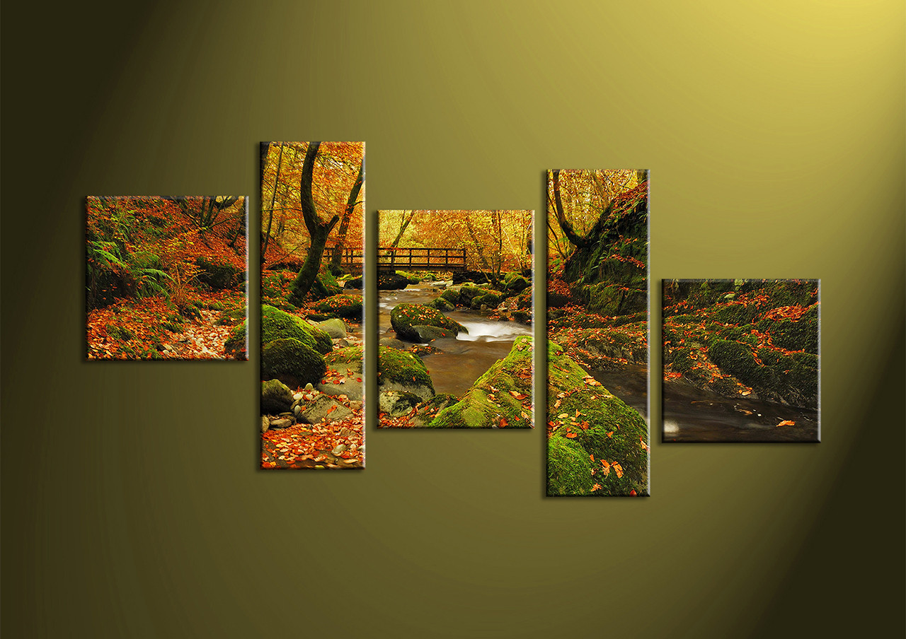 Forest Wall Art 5 piece green forest canvas print