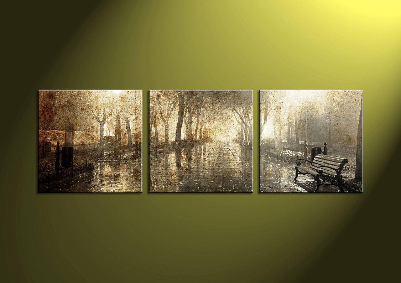 3 piece brown canvas scenery multi panel art