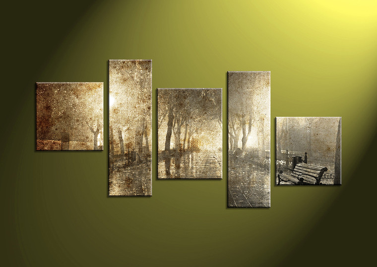 5 Piece Brown Park Sepia Group Canvas