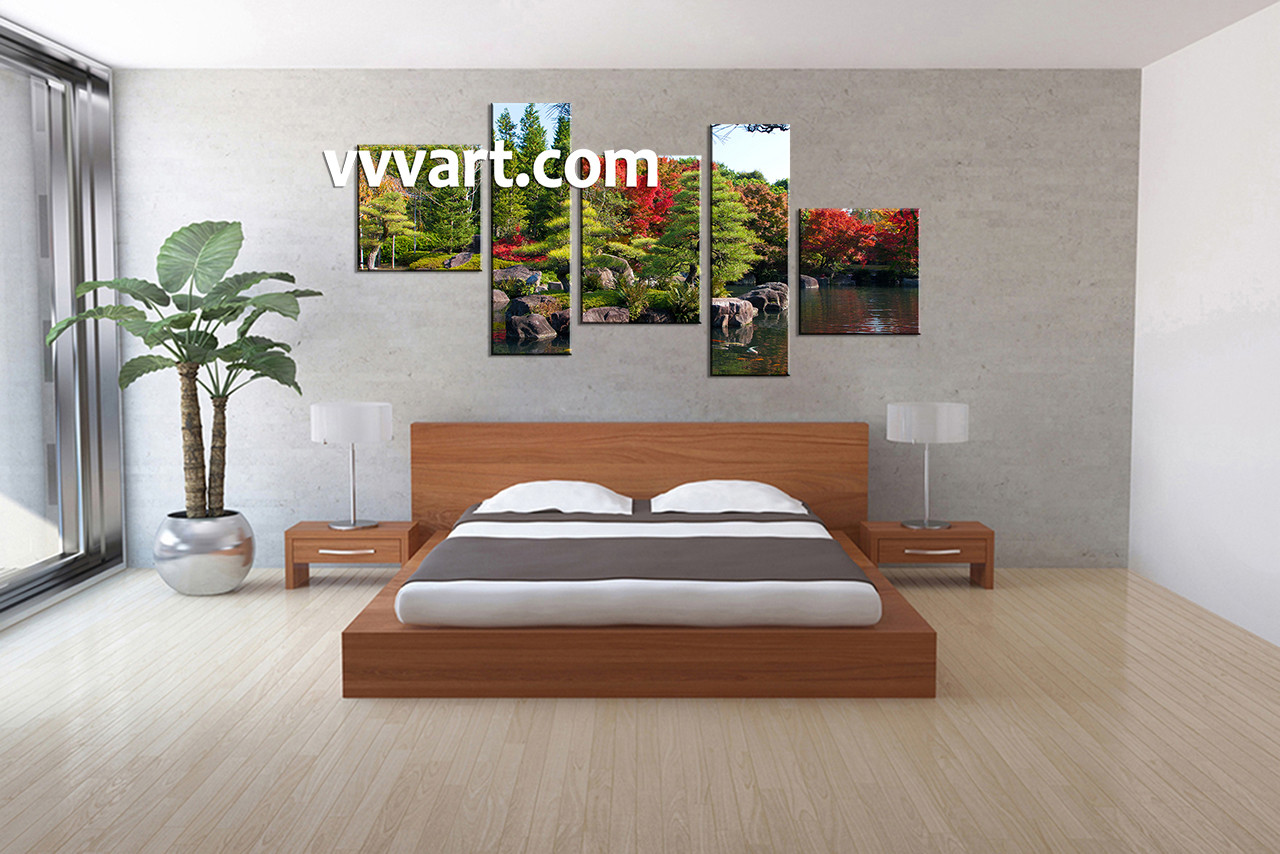 Multi Panel Canvas Wall Art 5 piece green nature multi panel canvas
