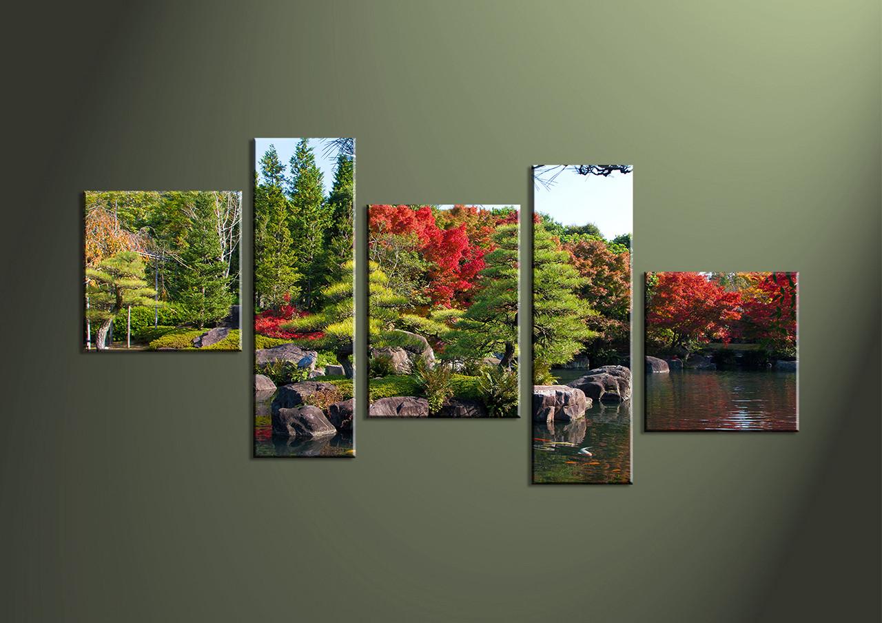 Canvas Prints, Landscape Prints, 5 Piece Wall Art, Waterfall Canvas Print,  Forest Part 88