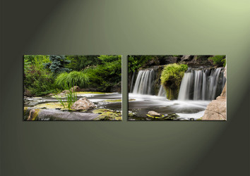 2 Piece Green Canvas Waterfall Large Canvas