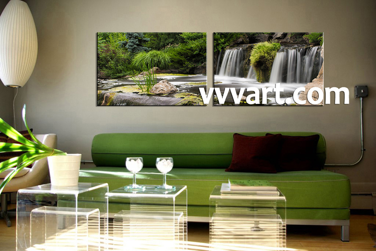 Waterfall Wall Art 2 piece green canvas waterfall large canvas