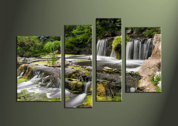 4 Piece Waterfall Green Group Canvas,Landscape Canvas