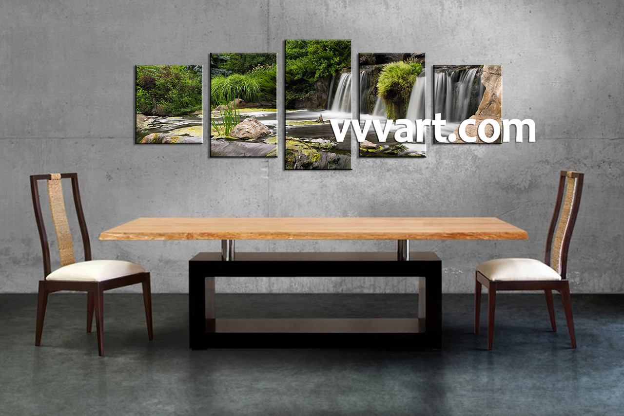 Waterfall Wall Art 5 piece green nature waterfall art