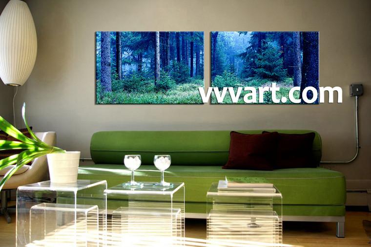 2 piece canvas blue forest pictures