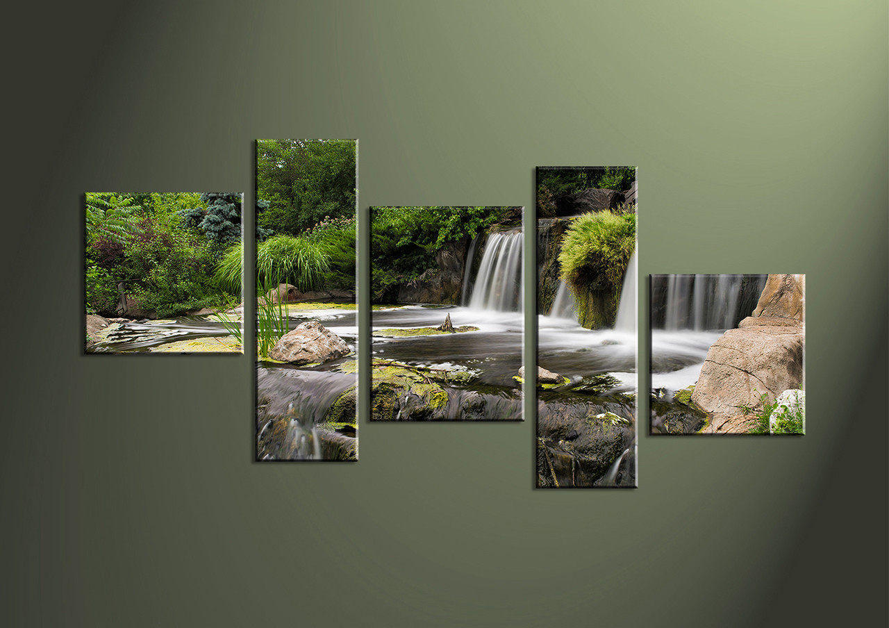 Five Piece Canvas Wall Art 5 piece waterfall green multi panel canvas