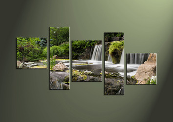 5 Piece Waterfall Green Multi Panel Canvas