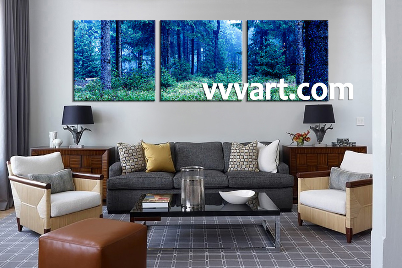 3 piece blue canvas mystical forest artwork for Decorative pieces for living room