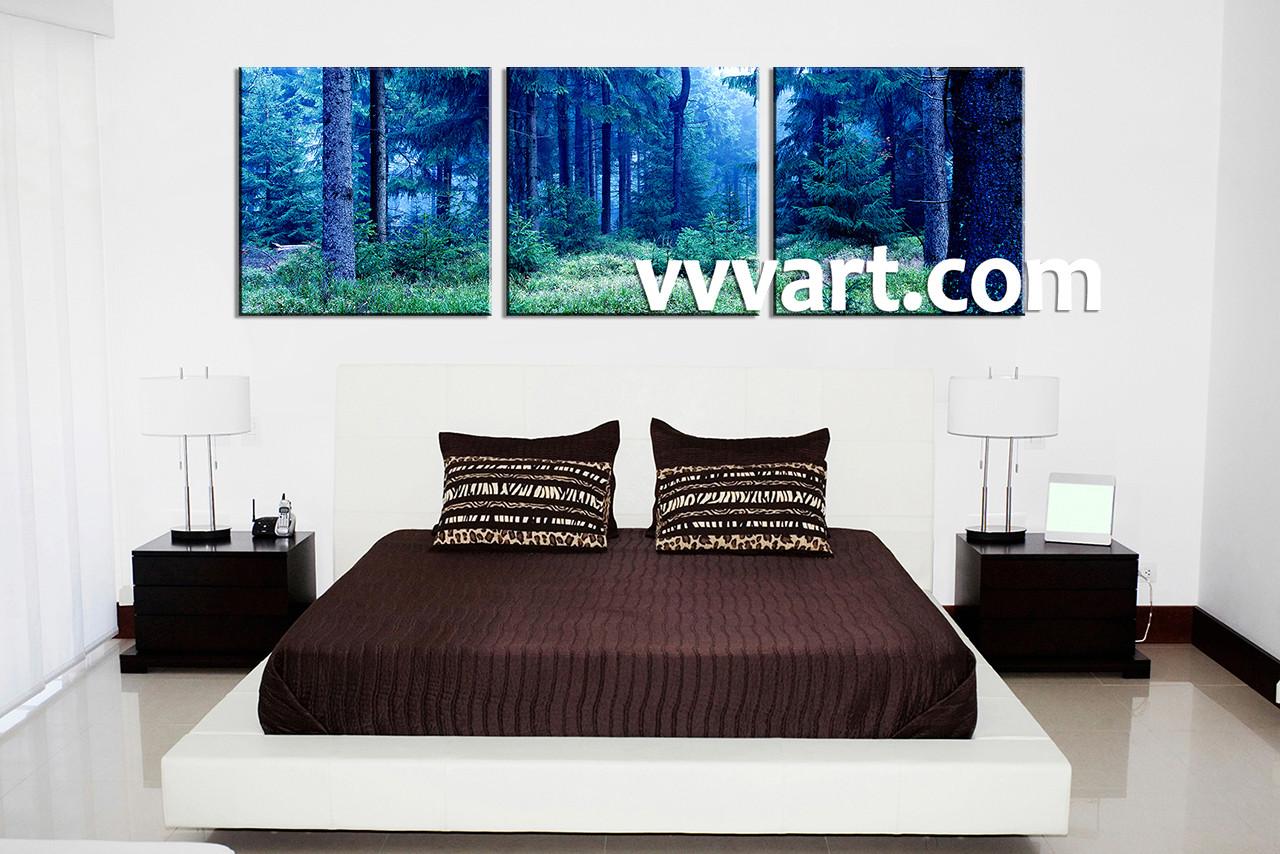 Forest Wall Art 3 piece blue canvas mystical forest artwork