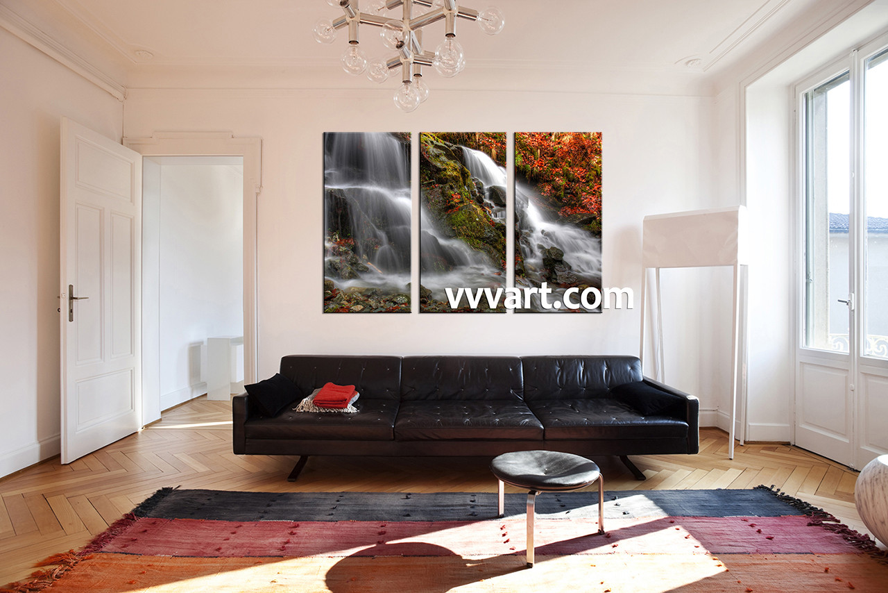 3 piece white canvas forest and waterfall artwork for Piece of living room decor