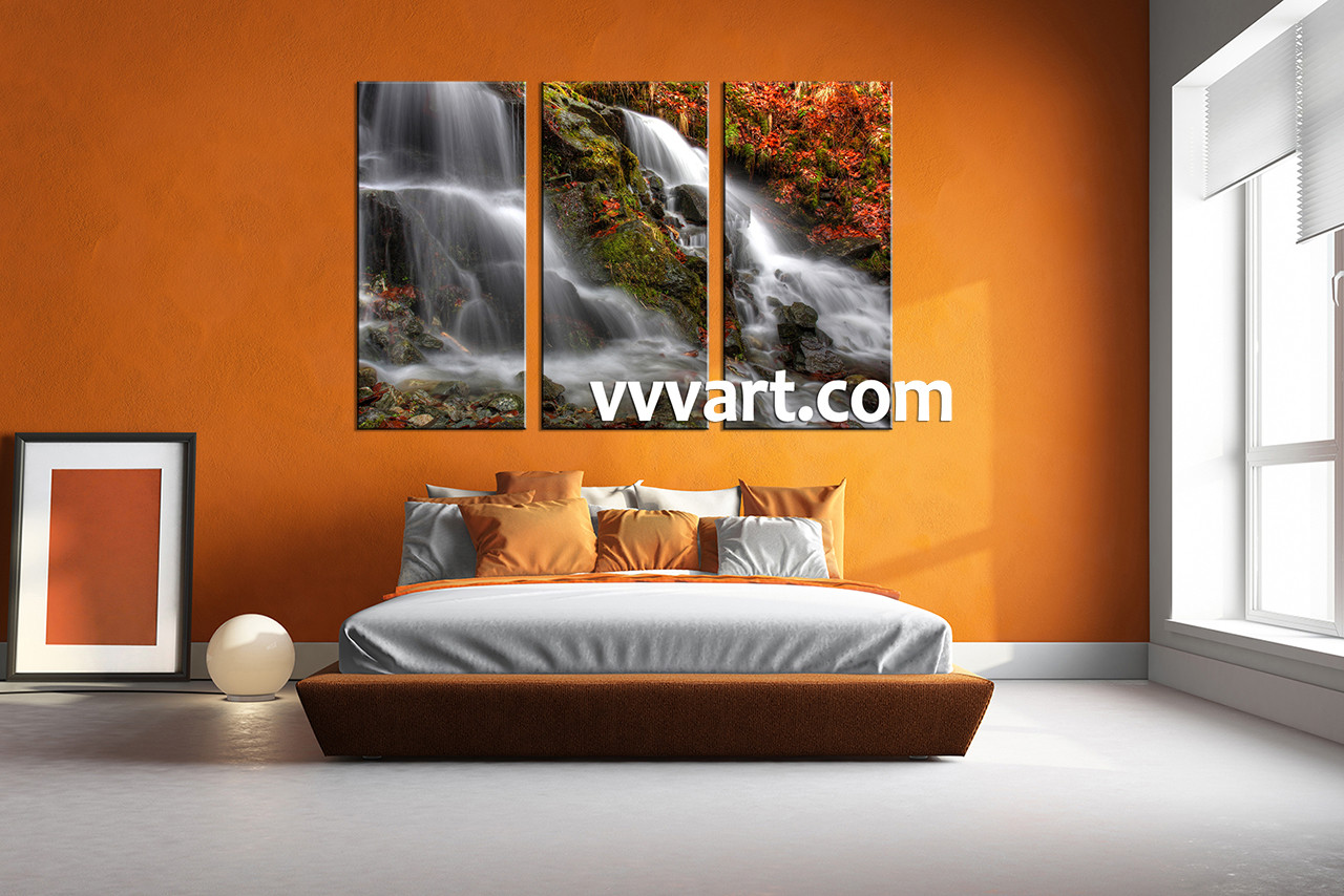 3 Piece White Canvas Forest And Waterfall Artwork