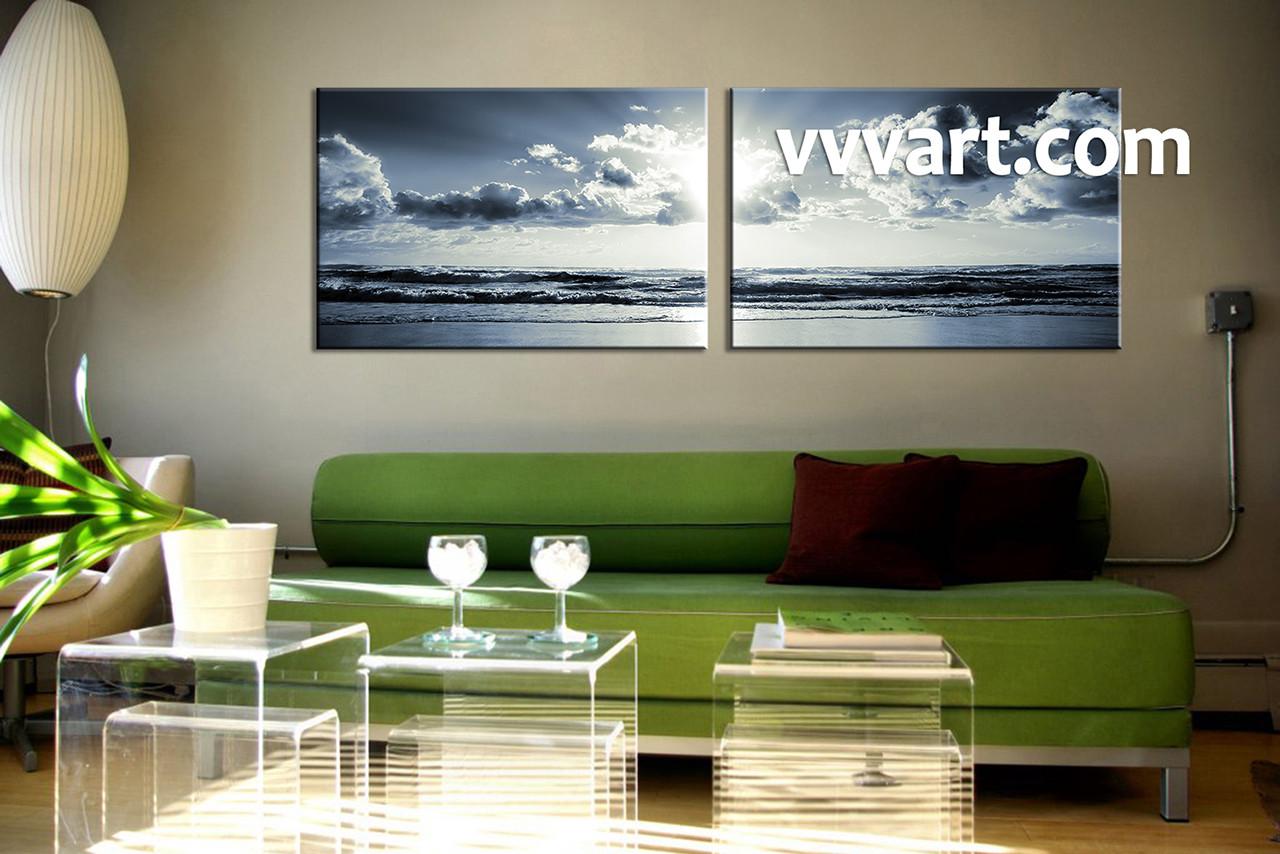 2 Piece Canvas Wall Art black and white wall art living room wall art & 2 Piece Black and White Canvas Ocean Sunset Wall Art
