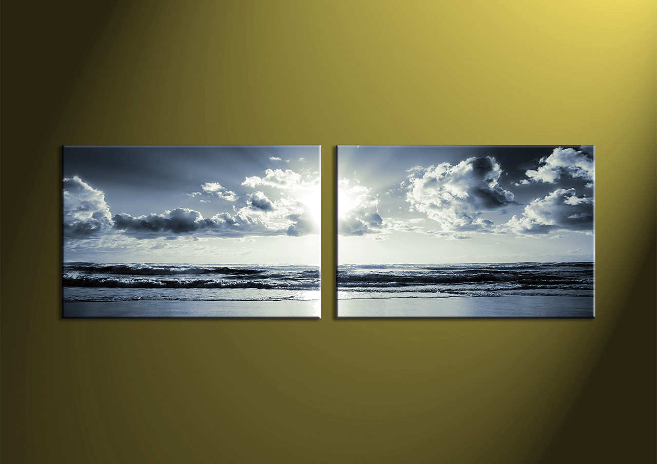 Panoramic Wall Art 2 piece black and white canvas ocean sunset wall art