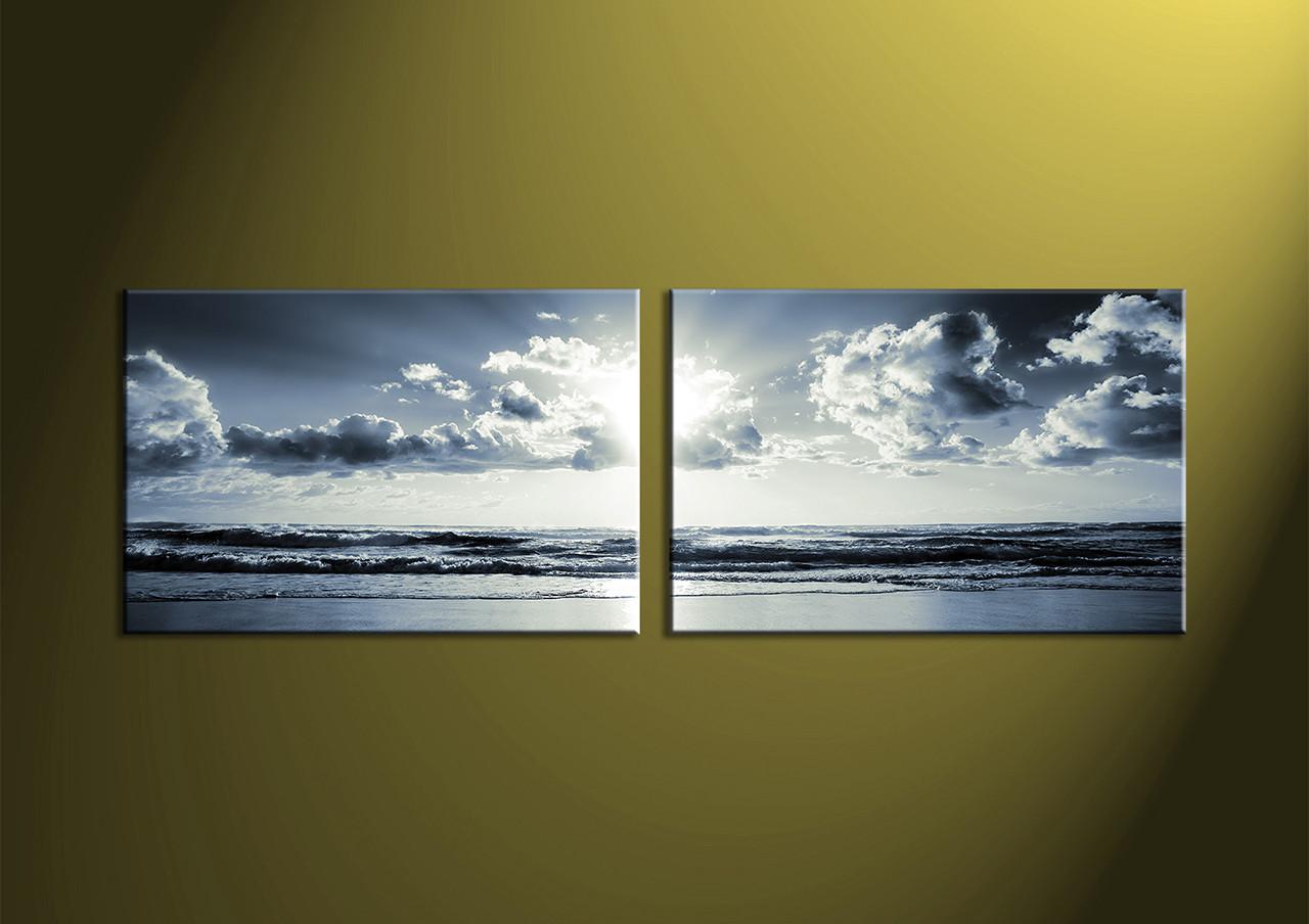 2 Piece Canvas Wall Art black and white wall art sea wall art & 2 Piece Black and White Canvas Ocean Sunset Wall Art