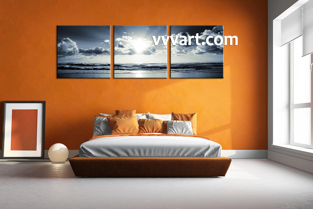 3 Piece Black And White Ocean Canvas Home Decor Artwork