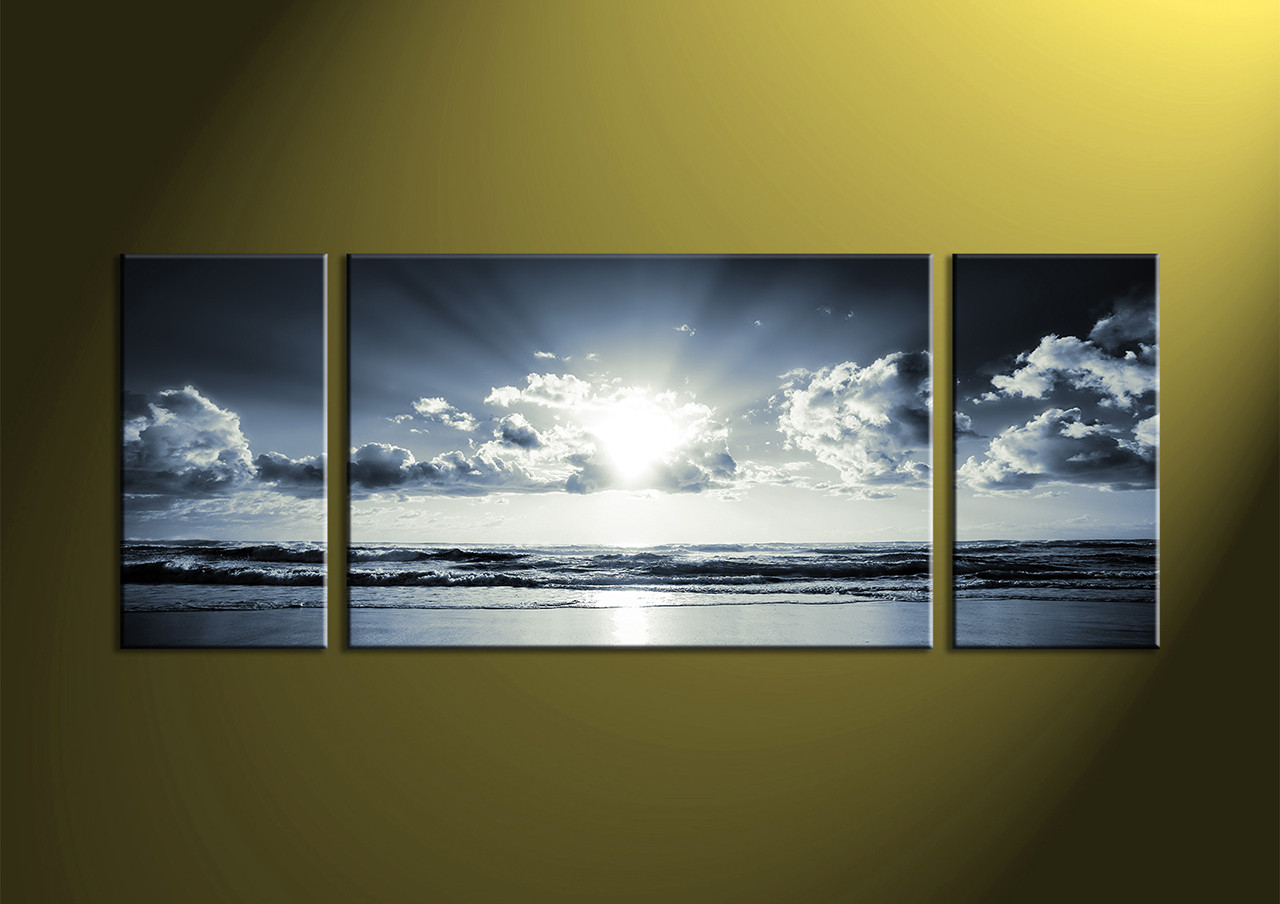 black and white prints canvas wall art sea wall art sea artwork & 3 Piece Black And White Canvas Ocean Sunset Wall Art