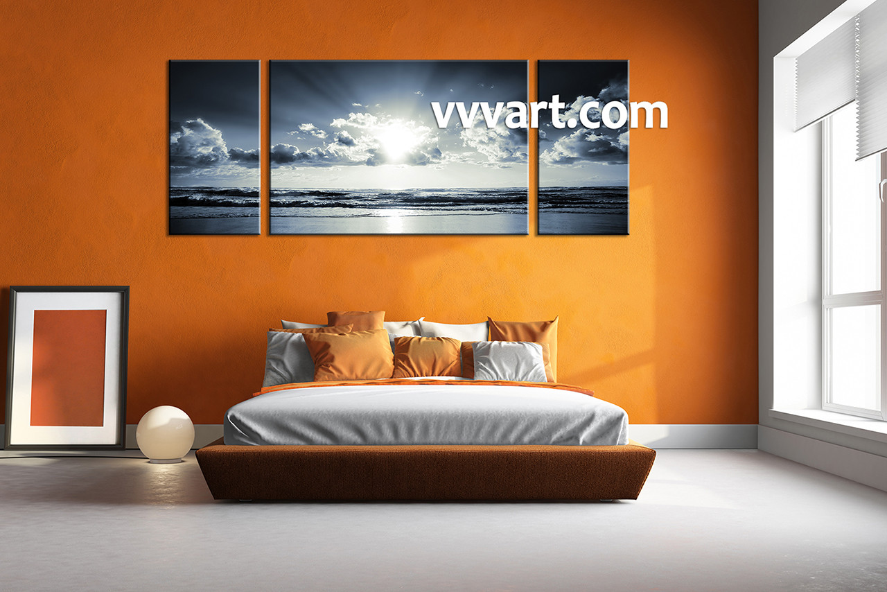 3 Piece Black And White Canvas Ocean Sunset Wall Art