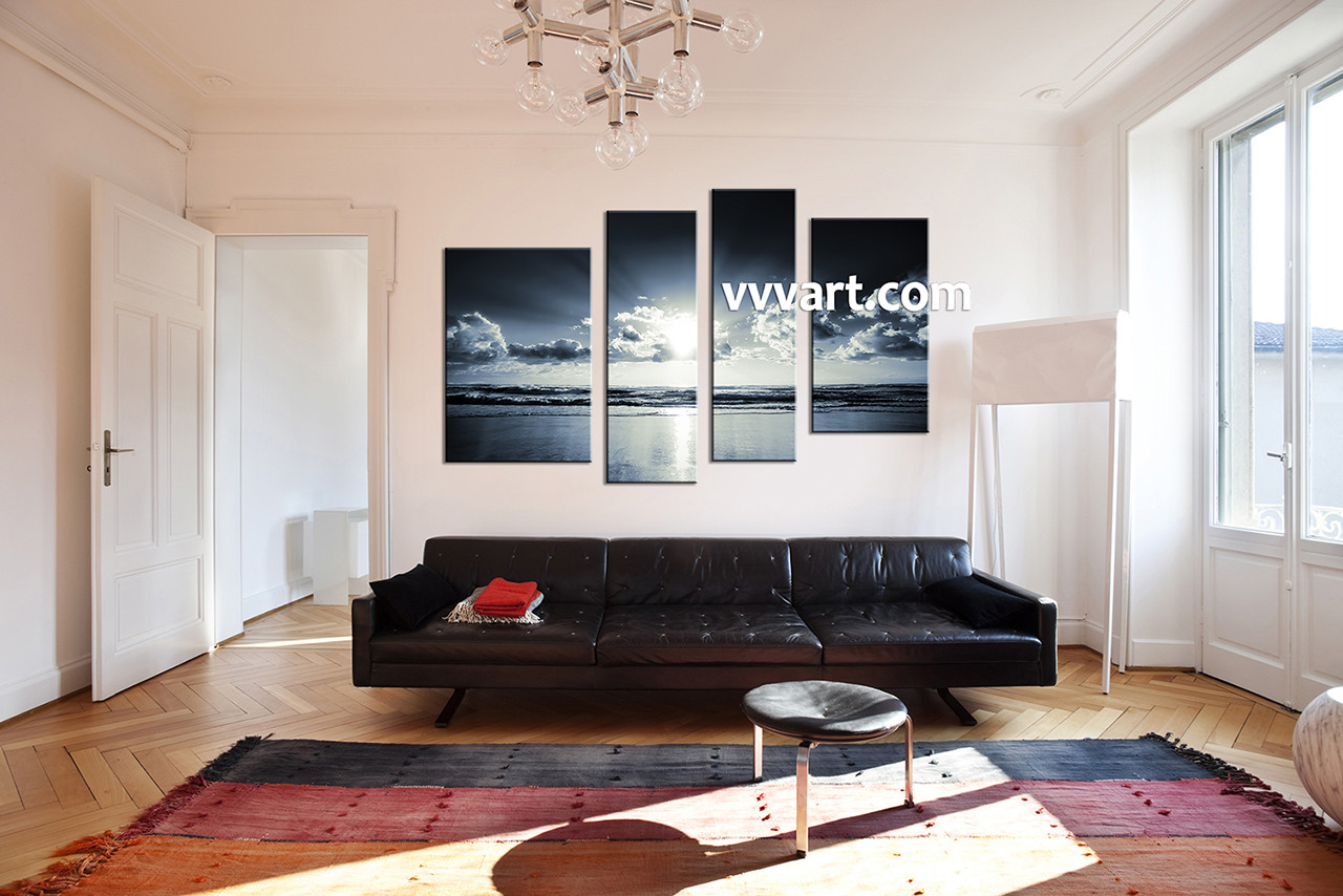 4 Piece Back And White Ocean Canvas Multi Panel Canvas
