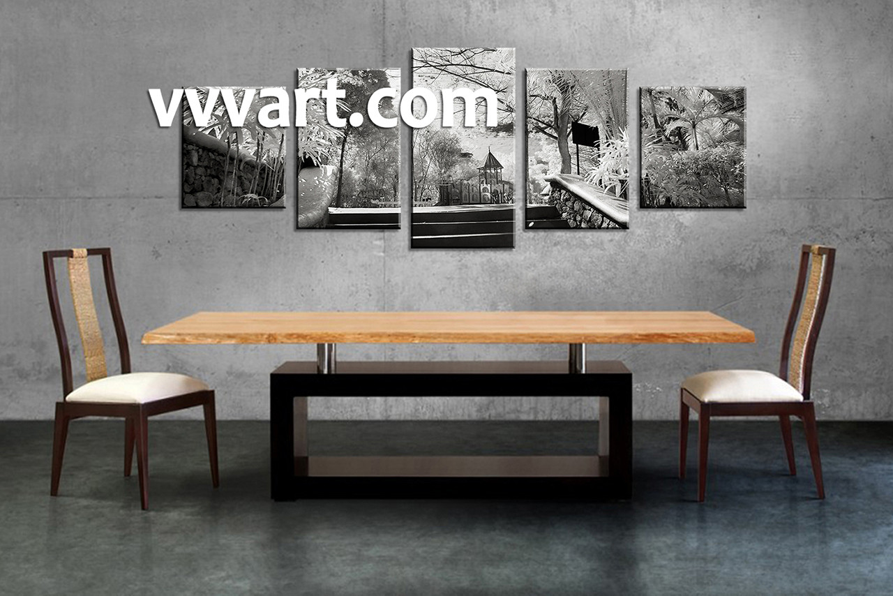 5 piece black and white canvas art for Black and white dining room wall art