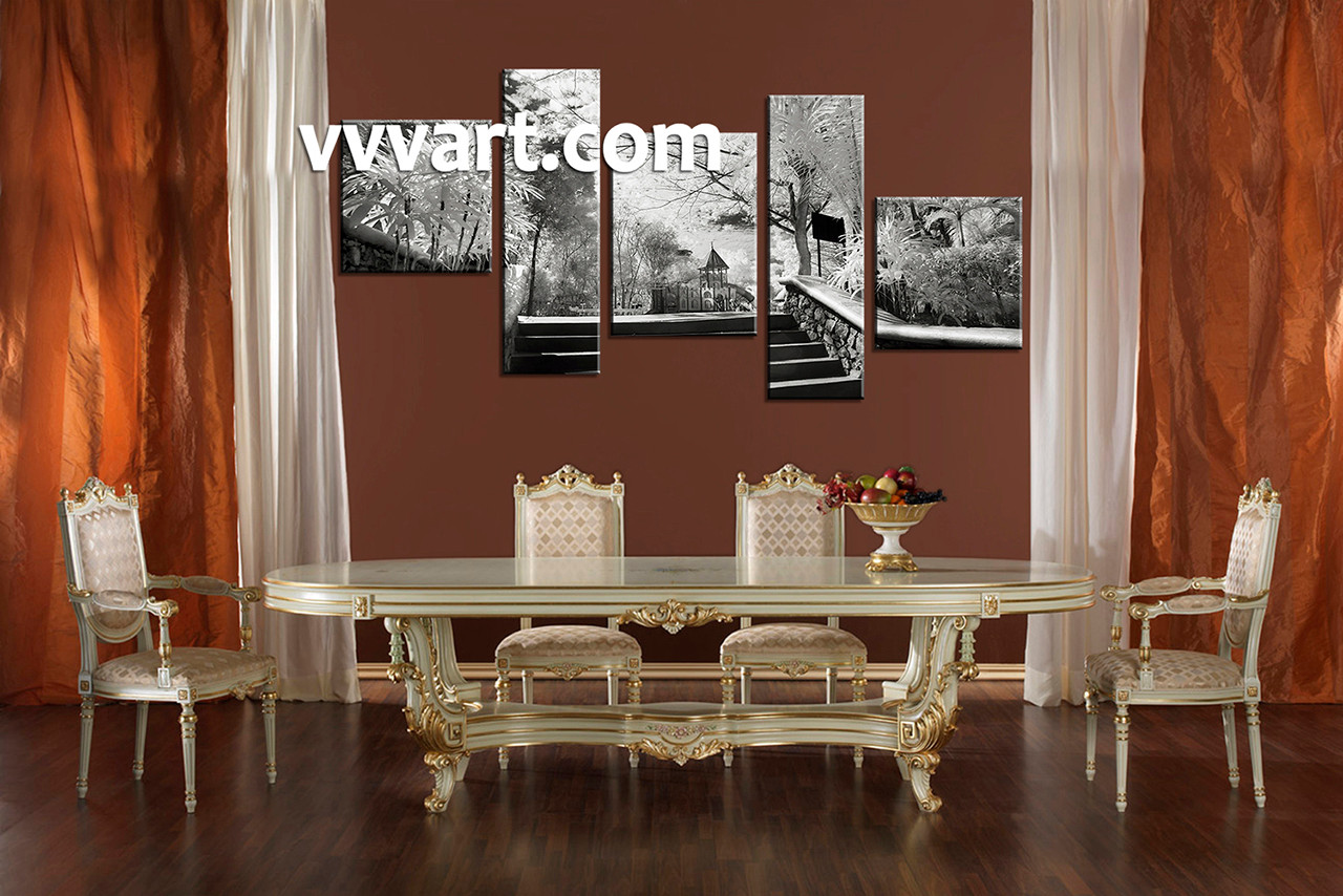 5 piece black and white canvas photography for Canvas dining room