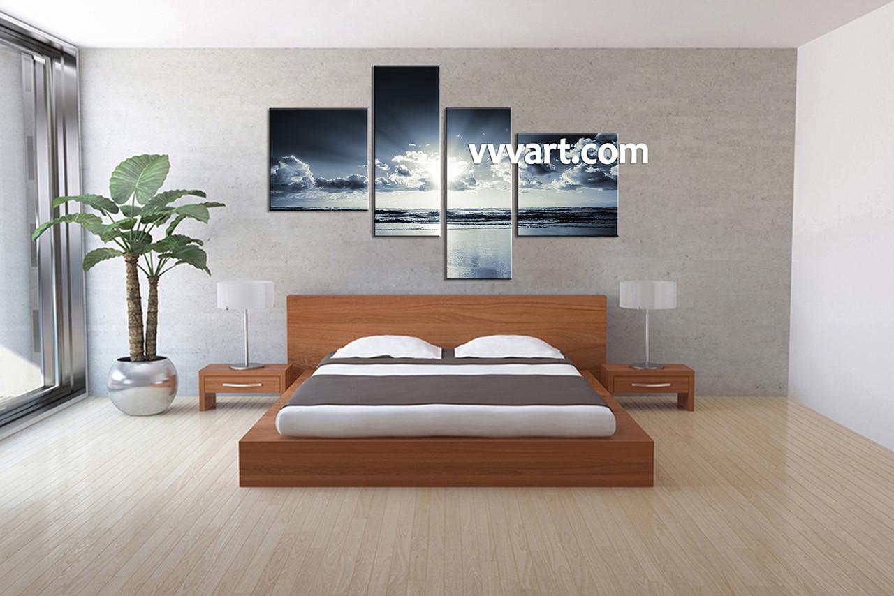 bedroom art. 4 Piece Black And White Canvas Ocean Sunrise Blue Wall Art and white bedroom wall art