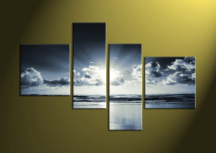 4 piece black and white canvas ocean sunrise blue wall art Black and white canvas art