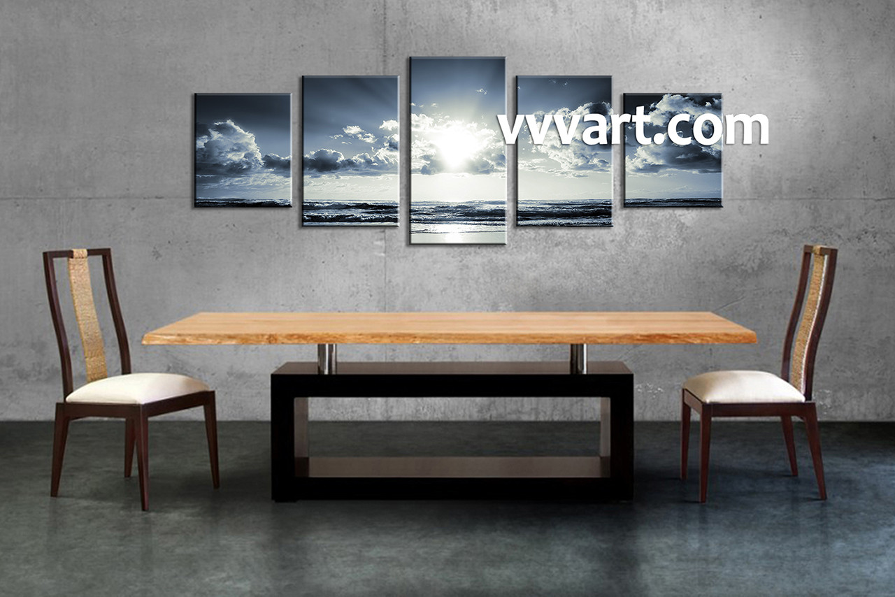 Black And White Canvas Wall Art 5 piece black and white ocean blue multi panel canvas