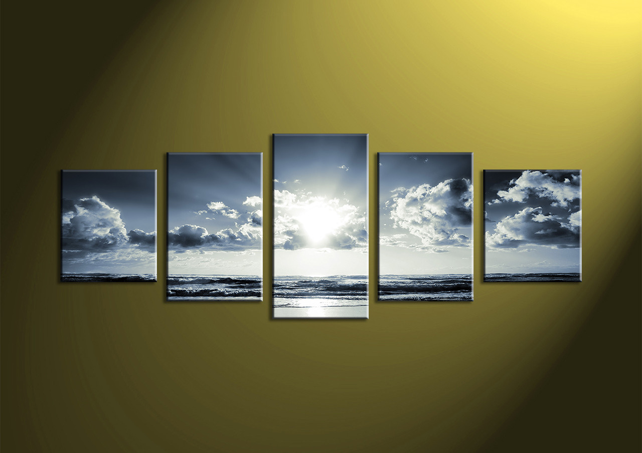 Canvas Prints, Black And White Prints, 5 Piece Canvas Wall, Sea Wall Art