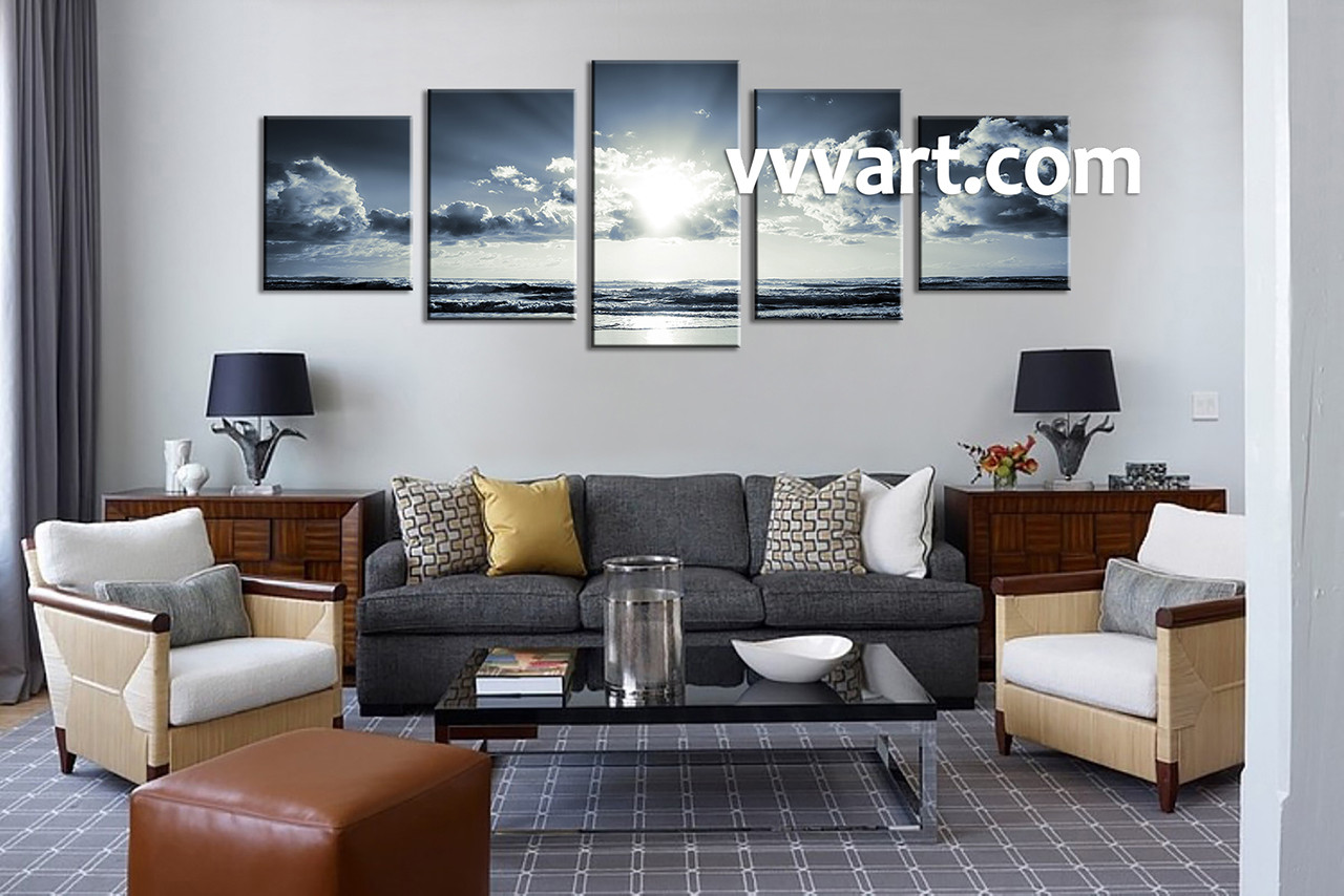 Superior Black And White Art, 5 Piece Wall Art, Living Room Wall Art, Sea Part 17