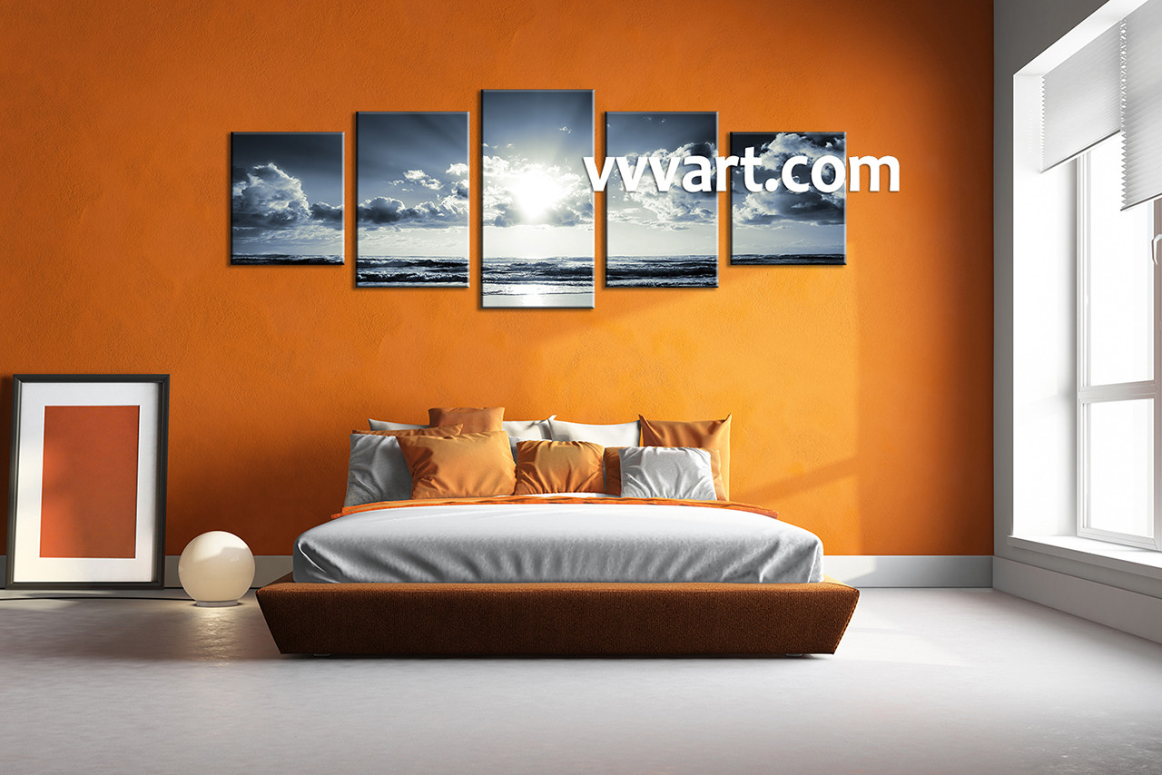 Multi Panel Canvas Wall Art 5 piece black and white ocean blue multi panel canvas
