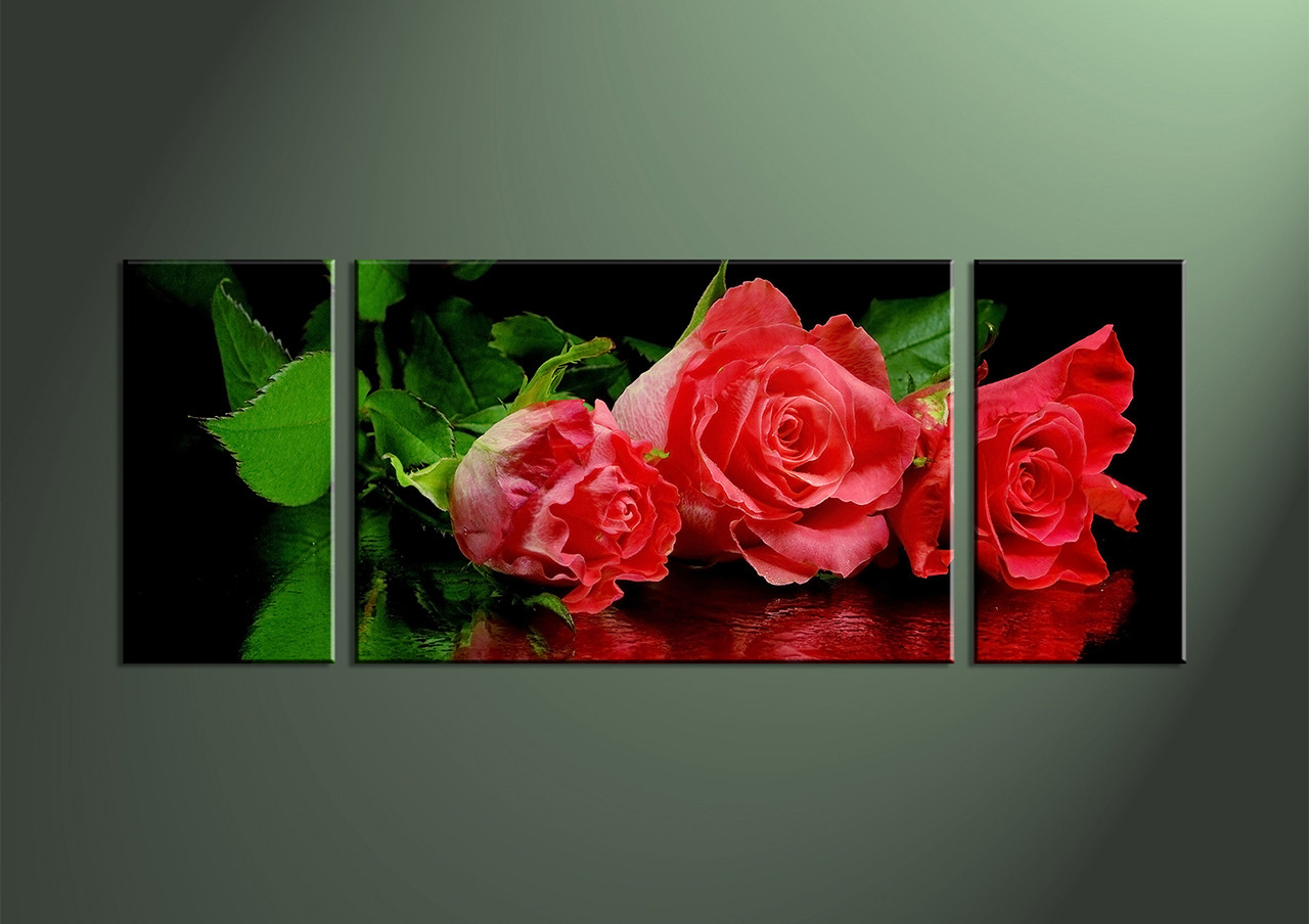 3 piece red rose canvas wall art. Black Bedroom Furniture Sets. Home Design Ideas