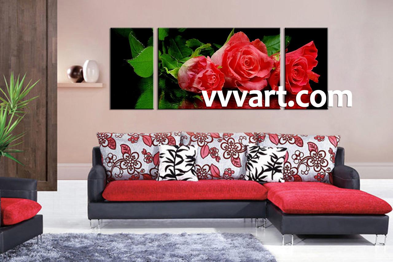 3 Piece Canvas Wall Art, Floral Wall Art, Living Room Artwork, Flower Wall