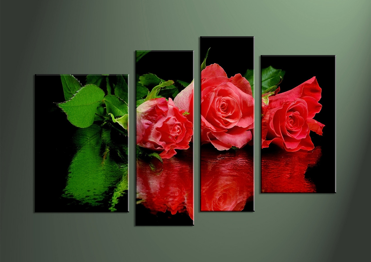 Popular 4 Piece Red Flower Canvas Photo Print CM12