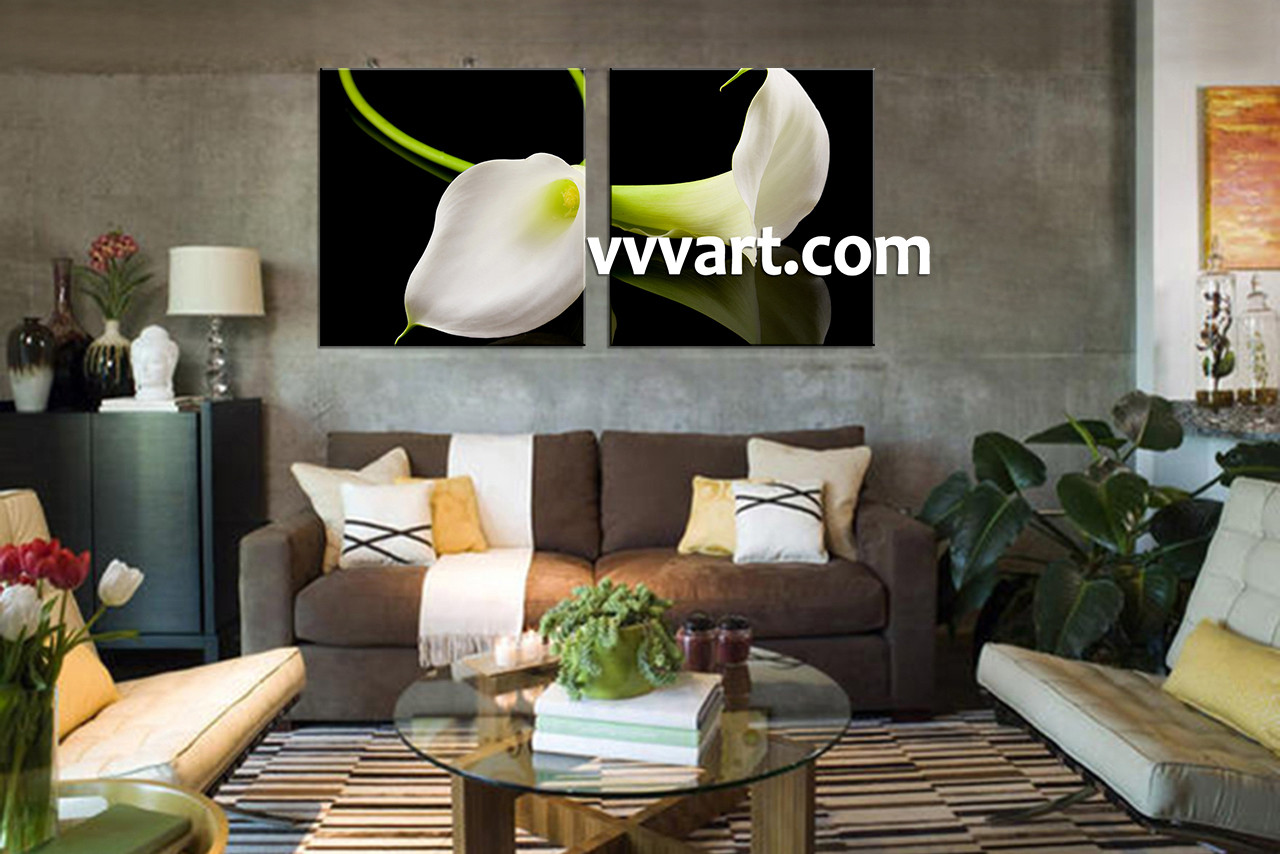 2 Piece Canvas Wall Art 2 piece canvas white flowers pictures