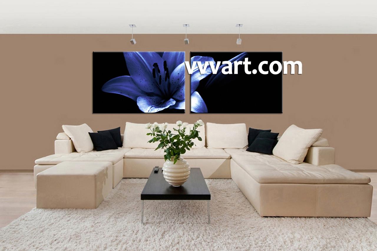 2 Piece Canvas Wall Art 2 piece blue flower canvas wall art