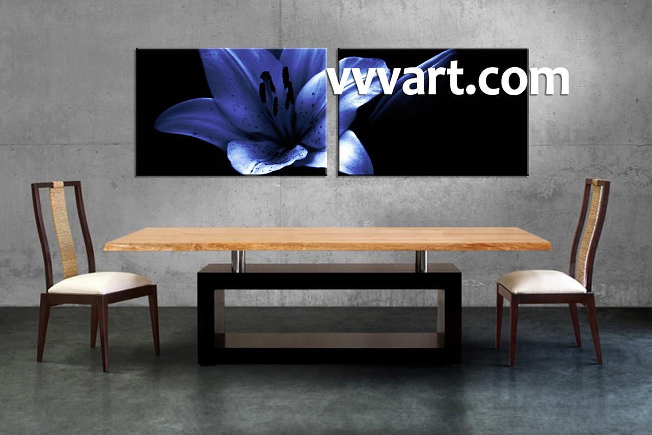 2 Piece Blue Flower Canvas Wall Art