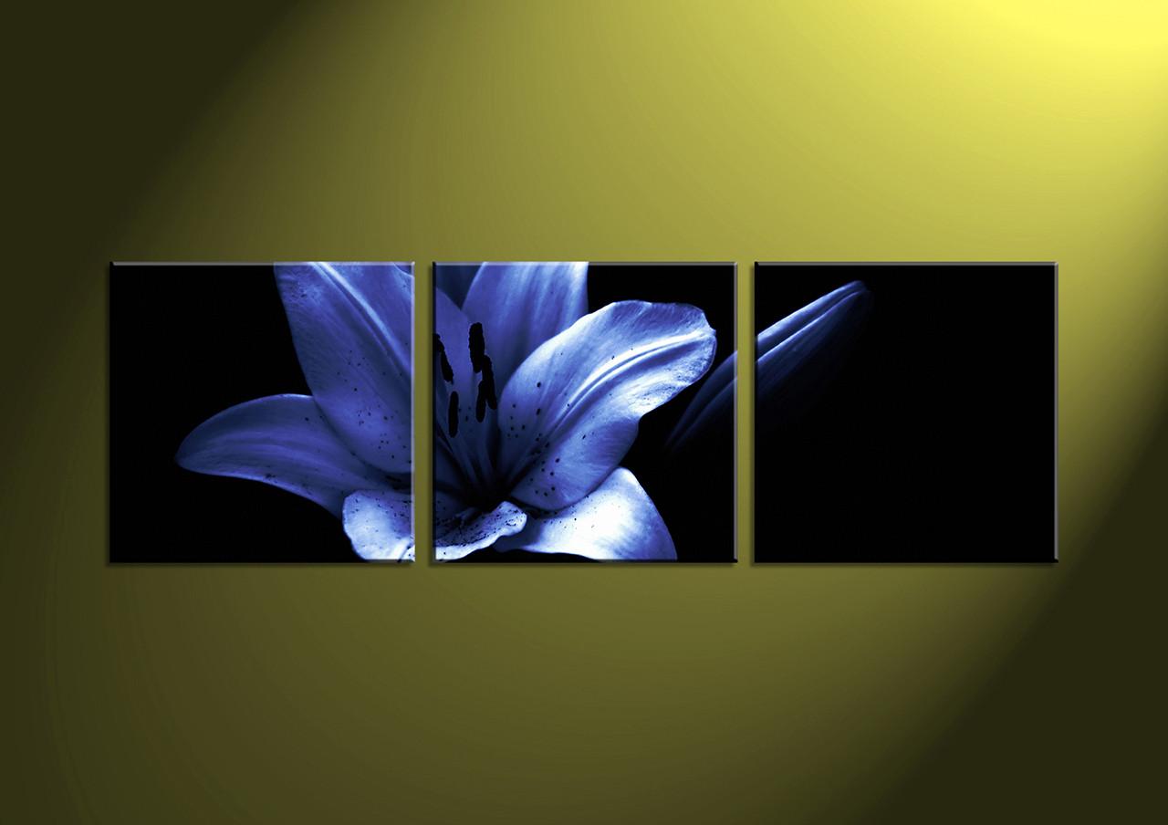 3 Piece Canvas Blue Flower Artwork