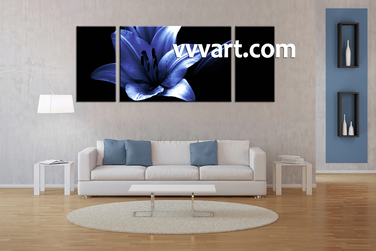 3 Piece Blue Floral Photo Canvas