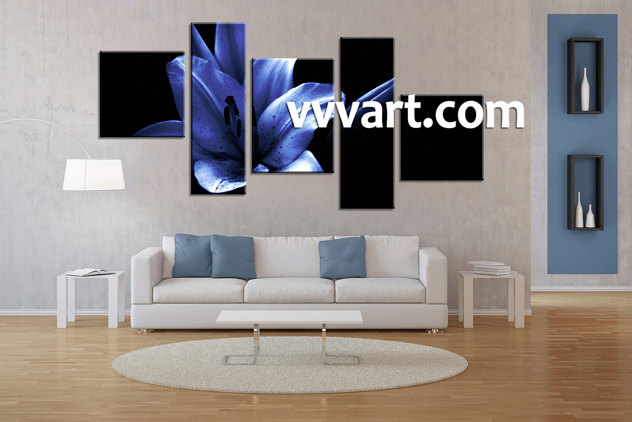 Blue Canvas Wall Art 5 piece canvas blue floral large pictures