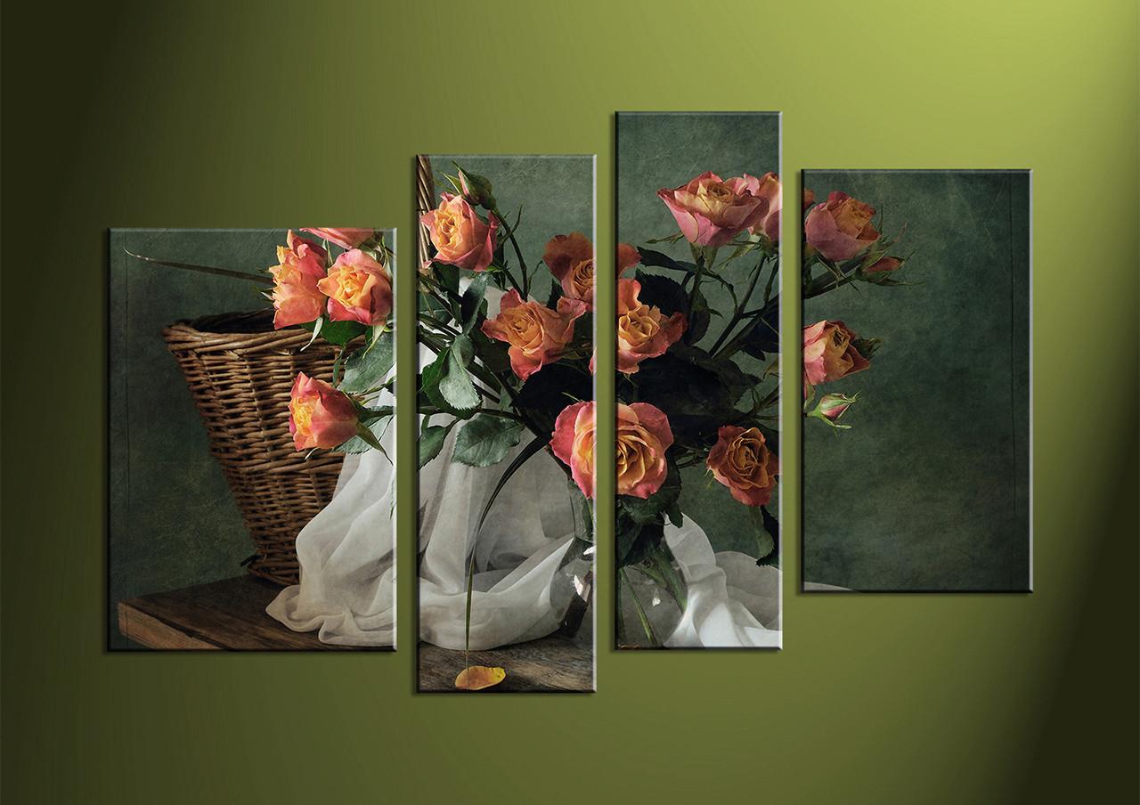 4 Piece Canvas Wall Art wall art flower wall decor flower wall art & 4 Piece Red Flower Green Multi Panel Canvas