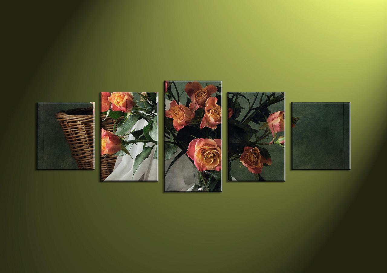 Five Piece Canvas Wall Art 5 piece green canvas wall art red floral art