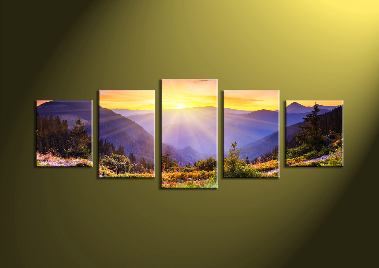 5 Piece Colorful Landscape Canvas Wall Art